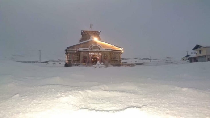 Kedarnath Temple Snow